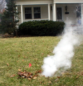 Smoke Testing for Sewer Leaks Next to a residence home