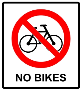 No Bikes on Sidewalks in Business District